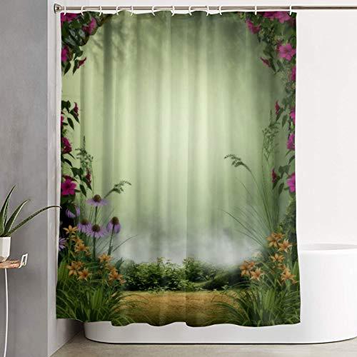 VINISATH Duschvorhang,3D Feen- oder Elfennebelwald, eingerahmt von Steintoren & Blumen,wasserdichter Badvorhang mit 12 Haken Duschvorhangringen 180x180cm