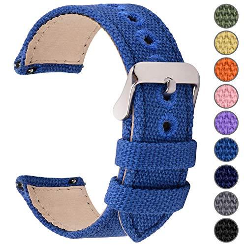 Fullmosa Uhrenarmband 22mm in 8 Farben, Stoff Leinen mit Mattleder Uhrenarmband Uhr Ersatzband mit Schnellverschluss für Mann&Damen,Saphirblau 22mm
