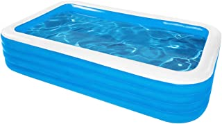 """H&R Kiddie Pool Family Inflatable Swimming Pool, 125""""x71""""x 30"""" Full-Sized Blow Up Pool for Kids, Toddler, Adults, Backyard..."""