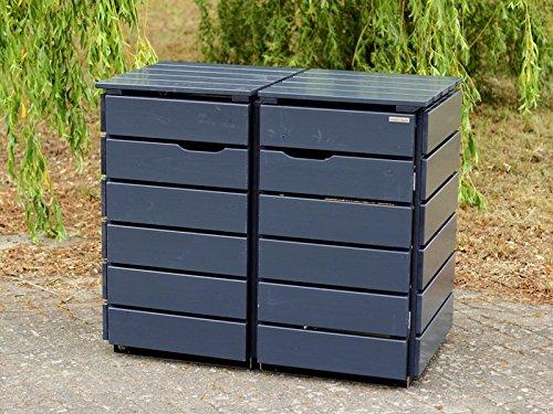 2er Mülltonnenbox / Mülltonnenverkleidung 120 L Holz, Deckend Geölt Anthrazit Grau - 3