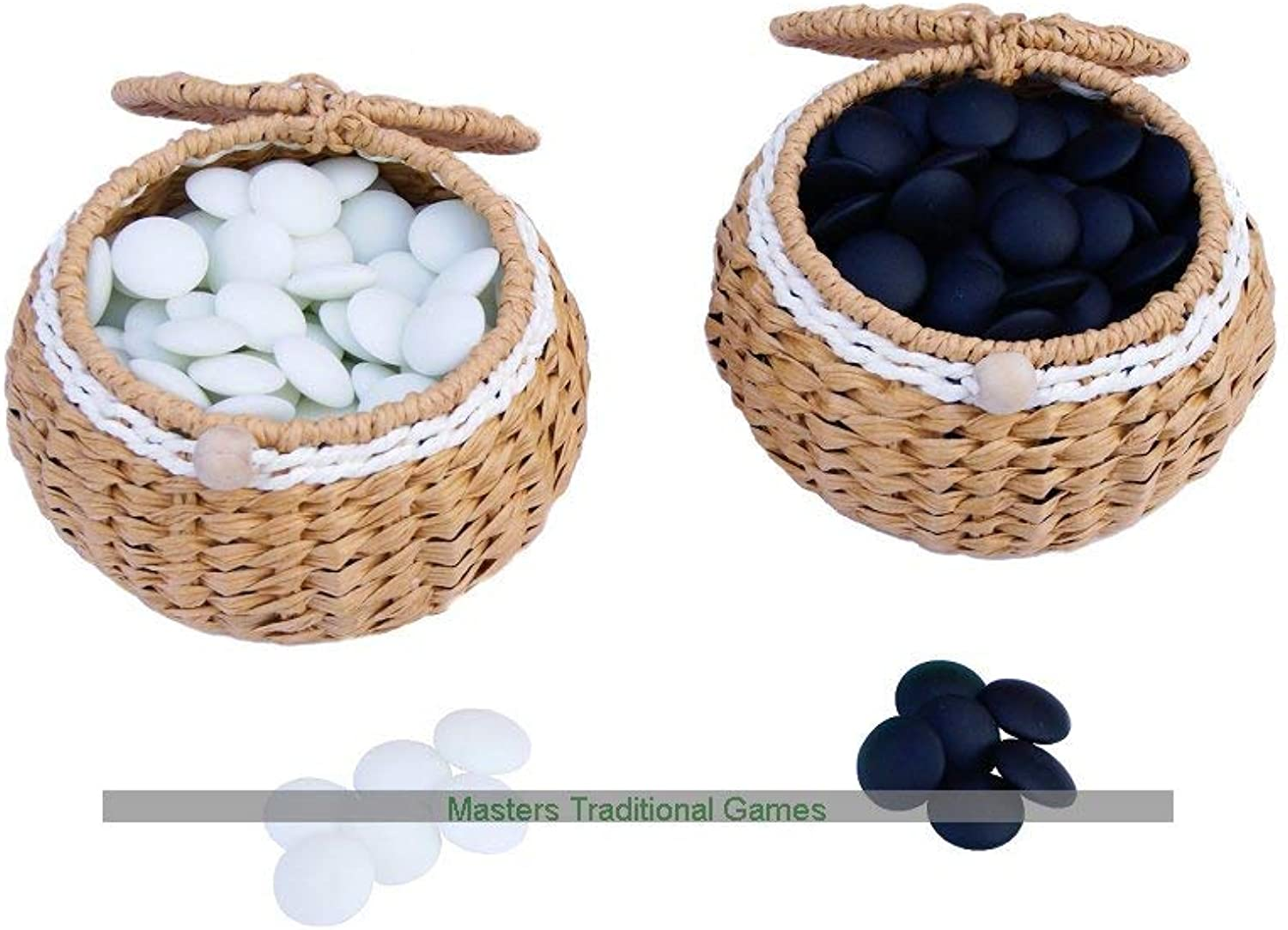 Masters Traditional Games Yunzi Go Stones in Wicker Bowls