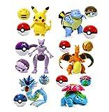 Klycbds 6 Stück / Set 8-11 cm Pokemon Spielzeug Pikachu Charizard Mewtwo Actionfigur Pokemon Spiel Poke Ball Modell Anime Figur Kinder