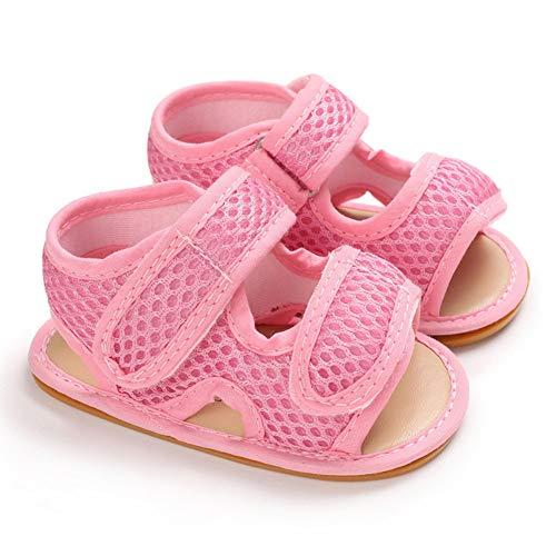 SZMYLED Sommer Kinder Kleidung Neugeborene Baby Kleinkind Schuhe Silikon Sohle Hollow Out Sandalen Nylon Verschluss Tape Sommer Gr. XXX-Large, Rosa 6-12m