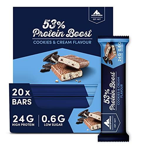 Multipower 53% Protein Boost – 20 x 45 g Protein Riegel Cookies & Cream mit 53% hochwertigem Protein – 24 g Eiweiß und 1,3 g Zucker je Eiweißriegel