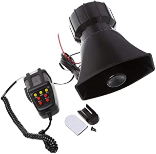DishKooker 100W 7 Sound Car Electronic Warning Siren Motorcycle Alarm Firemen Ambulance Loudspeaker with MIC ( Black )