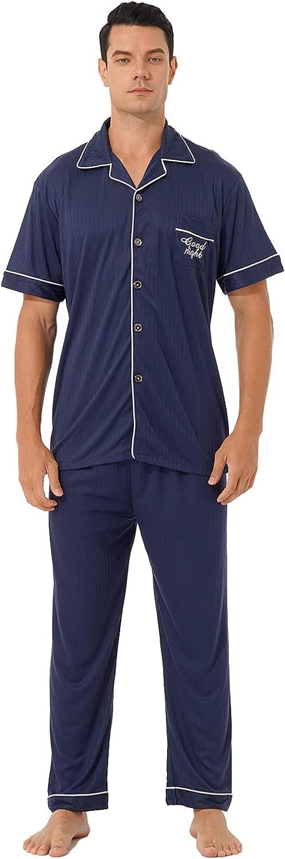 iiniim Mens Pajama Set Cotton Short Sleeve Plaid Sleepwear Button Down Long Pants Set Loungewear Pjs