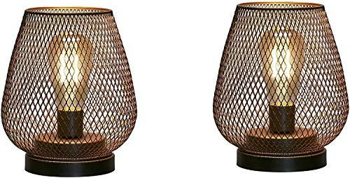 Lámpara de Mesa de Jaula de Metal con 2 Pilas, luz Decorativa inalámbrica con Bombilla LED Estilo Edison para Dormitorio, hogar, Bodas, Fiestas, Patio, Interior, Exterior (Forma de Huevo)