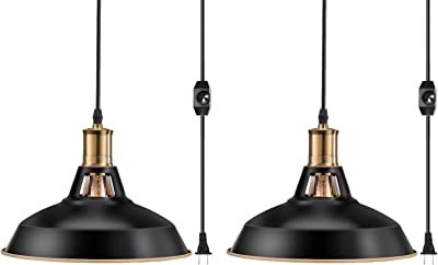 Pynsseu Industrial Barn Plug in Pendant Light with 13.12Ft Cord and Dimmable Switch, Vintage Metal Hanging Pendant Lamp for Kitchen Island, Dining Room, Bedroom or Barn 2 Pack