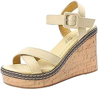 Chaussures à Talons Femme Sandales, Tongs Chaussures Compensées de Plage Mules Chausson Traversé Été Mode Loisirs Poisson ...