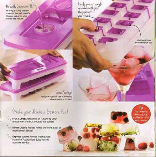 4 X New Tupperware Cool Ice Cube Plastic Tray with Opening Lid Contain 14 Cubes - HerbalStore_247