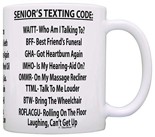 Retirement Gag Gift Senior's Texting Code Office Humor Coworker Gag Gift Coffee Mug Tea Cup White