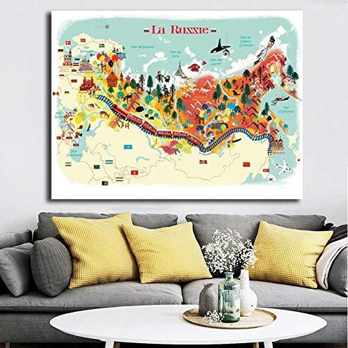 Terilizi geïllustreerde kaart uit Rusland minimalistische muurkunst canvas poster en druk canvas schilderij decoratieve afbeelding voor slaapkamer wooncultuur 60 x 80 cm geen lijst