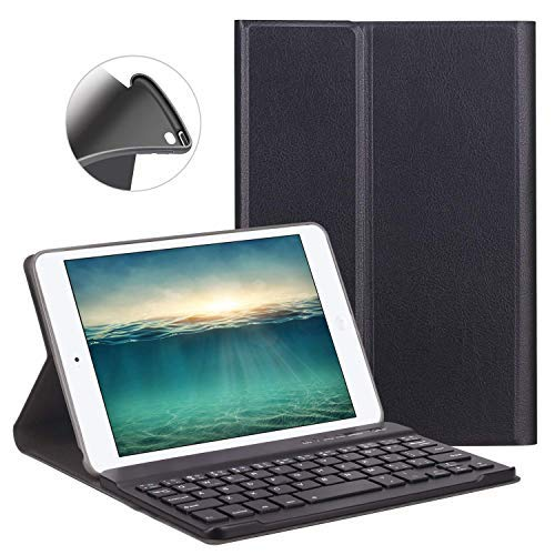 Custodia Tastiera Bluetooth per iPad Mini 4/5, LUCKYDIY iPad 7.9 INCH Custodia con Tastiera Wireless Staccabile Magnetica e Cavo USB Nero