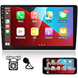 Podofo 10.1'' Android Car Stereo with GPS Wireless Apple CarPlay & Android Auto, HD Capacitive Touchscreen Double Din Car Radio with Bluetooth, WiFi, Backup Camera, SWC, External Mic & FM Radio