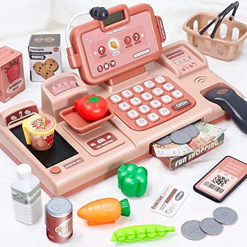 Q-FQRM Caisse enregistreuse électronique pour enfants - Jeu de supermarché - Jouet intelligent avec scanner, nourriture, panier de courses - Cadeau pour enfants : garçons et filles (Rose)