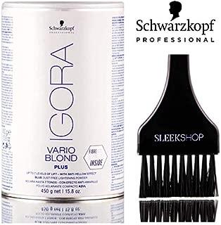 Schwarzkopf Igora VARIO BLOND PLUS, BLUE Dust-Free Lightening Bleach Powder, 7 Levels Lift, FibreBond Technology (with Sleek Tint Brush) (PLUS (7 levels lift) - 15.8 oz)