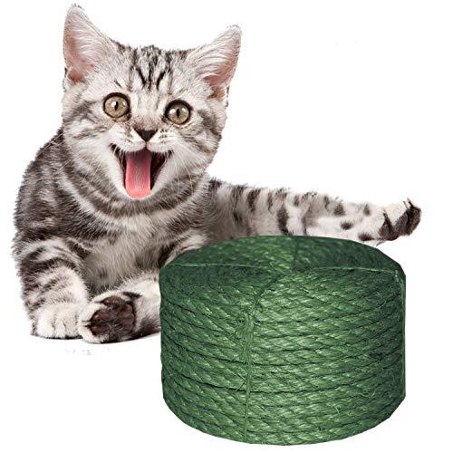 O\'woda 10M Sisalseil für Kratzbaum Seil 6 mm, für Kratzbäume, Seil Kordel, Camping Seil, Garten, Mehrzweck Utility Sisal Seil DIY Handwerk Seil (10 Meter, Grün)