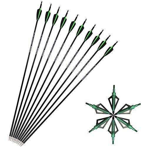 SHARROW 12pcs Flechas de Carbono 30 Pulgadas Spine 500 para Arco Compuesto Recurvo Flechas de Caza (Verde+ 12pcs Broadhead)