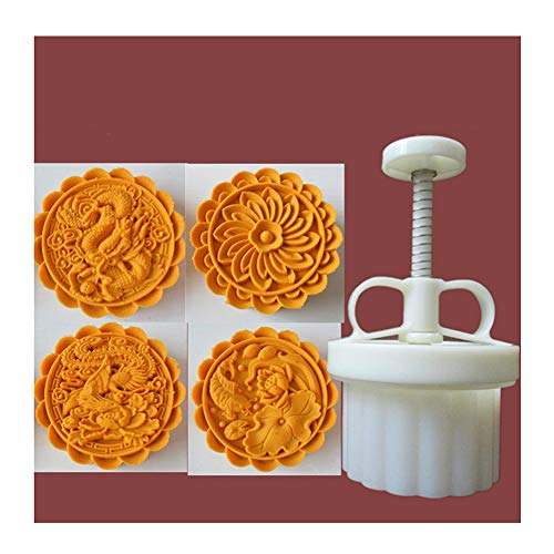 kebyy 150g Cookie Stamps Moon Cake Mold Thickness Adjustable Christmas Cookie Press DIY Hand Press Cutter