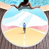 Chanpin Mountain, paisaje, coche, verano, deportivo, toalla de playa, yoga, picnic, mantel redondo con borla para mujer y niña verano, color Blanco, tamaño 59 inch