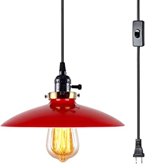 Lampundit Plug in Pendant Light E26 Industrial Hanging Pendant Lights Vintage Hanging Light Fixture with 15.9ft Cord On/Off Switch 1 Light