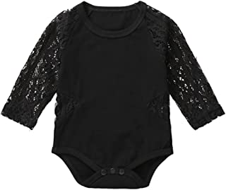Baby Girls Romper Newborn Girls Solid Long Sleeve Bodysuit Infant Baby Girls Lace Onesies Outfits