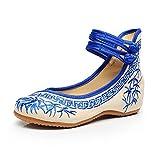 Zapatos de Mujer de Bordado de bambú Zapatos Planos Chinos Zapatos de Suela Suave Mary Janes (Azul,37 EU)