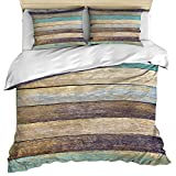 Crystal Emotion Bedding Set 3 Piece Set(Duvet Cover + Pillow Sham), Rustic Wood Farm California King Size Duvet Cover Ultra Soft and Breathable, Country All Season Microfiber Bedding