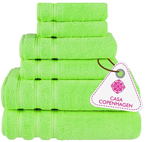 "Denmark Soft Linen Premium, 6 Piece Kitchen and Bathroom Cotton Towel Set [Worth $72.95] - ""Lime Green (2 King Size Bath Towel , 2 Hand Towels , 2 Face Towel), 2 Face Towels"