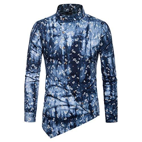 Shirt Irregulär Langarmhemd Männer Hemd 3D Gedruckt Button-down Kleidung,B,S