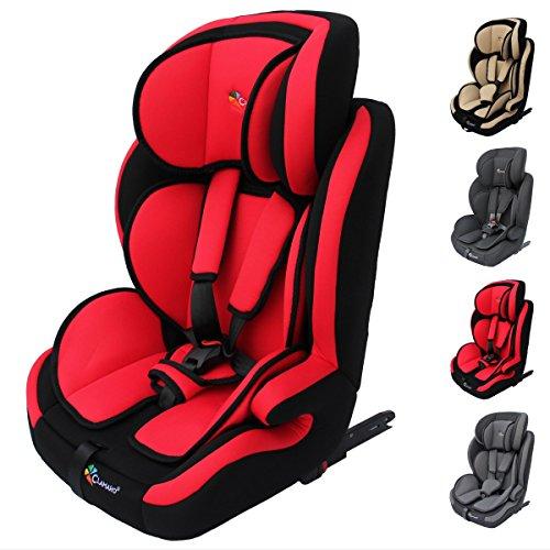 Clamaro 'Guardian Isofix' Kinderautositz 9-36 kg ISOFIX mitwachsend, Autokindersitz für Kinder ab 1-12 Jahre (Gruppe 1I,II,III), Isofix und TOP TETHER, ECE R44/04 Zulassung - Rot Schwarz