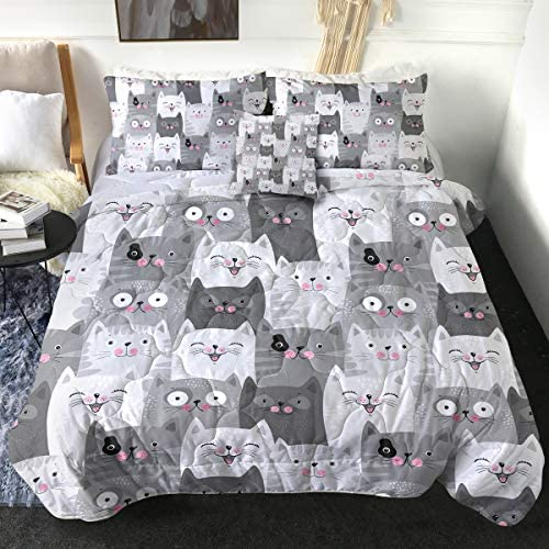 Sleepwish 4 Piece Cats Comforter Set for Twin Size Beds Grey and White Cats Bedding Sets 1 Cat product image