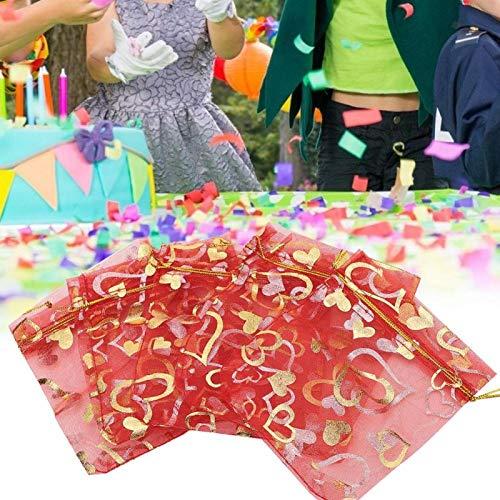 Kuuleyn Bolsa de Caramelo, 100 Piezas Bolsa de Malla Regalo de Boda Favor Bolsa de joyería de Caramelo Bolsas con cordón 5 Colores(Rojo)
