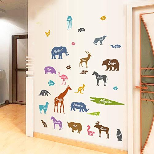 Adesivo murale sagoma animale per camerette per bambini Decorazioni per la casa Decalcomanie Carta da parati per bambini Adesivi animali