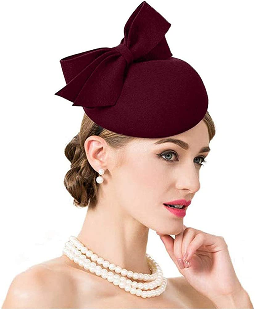 F FADVES Wedding Fascinator Pillbox Hat Women Church Headband Wool Cap Bowknot Tea Party Kentucky Derby Felt Tilt Hats