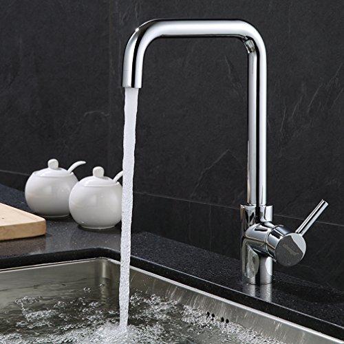 ubeegol Küchenarmatur 360° drehbar Wasserhahn Küche Armatur Spültischarmatur aus Messing Chrom Einhebel Mischbatterie Spülarmatur Spültischbatterie für Spüle