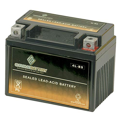 Replacement YTX4L-BS Battery - High Performance Power Sports, Rechargeable, Replacement for Scooters and Lawnmowers, Chrome Battery