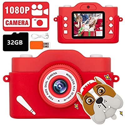 LEAMBE Kids Digital Selfie Camera, Perfect Birthday & Christmas Gifts for Age 3 – 8 Kids, 2.0 Inch Screen & HD Video Recorder with 32GB Memory Card, Cute Design-Red