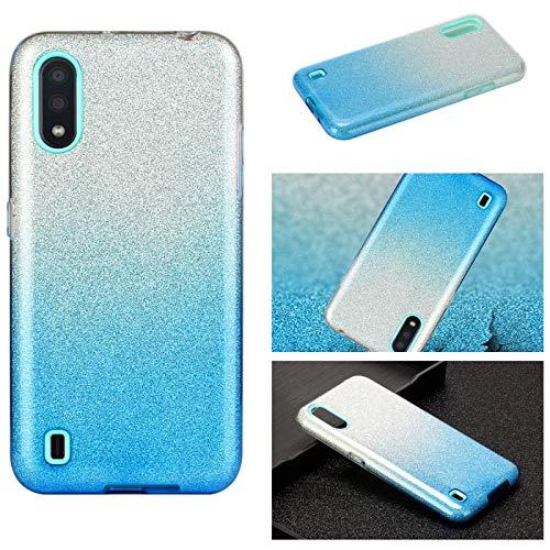 Hancda - Carcasa para Samsung Galaxy A10, funda de teléfono móvil 3 en 1, de silicona TPU, con purpurina, brillante, papel interior duro, carcasa fina para Samsung Galaxy A10, color azul