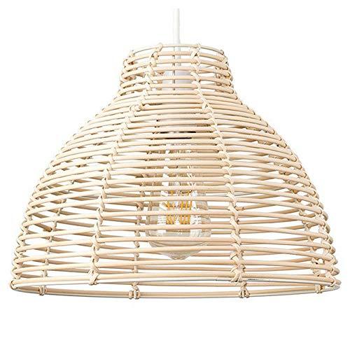SUTIANZHANG Lámpara Colgante Moderna, Canasta de Mimbre Crema de Mimbre Estilo candelabro de luz Sombra de Techo iluminación Interior Accesorio de Techo para Sala de Estar Dormitorio