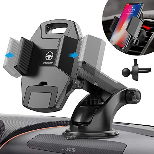 Cell Phone Car Mount, Yarber 3-in-1 Universal Cell Phone Holder for Car Air Vent Holder Dashboard Mount Windshield Mount Compatible w/ iPhone XS XS Max XR X 8 8+ 7 7+ SE 6s 6+ 6 5s 4 Samsung