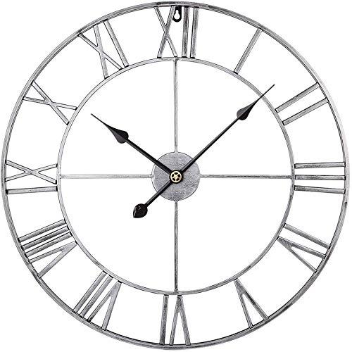 Reloj de pared silencioso retro de metal grande de 60 cm para cocina, sala de estar, oficina, dormitorio, color