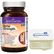 New Chapter Bone Strength Calcium Supplement Clinical Strength with Vitamins K2, D3-240 Tiny Tabs Bundle with a Lumintrail Pill Case