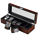 BEWISHOME Watch Box for Men - Luxury Watch Case, Real Glass Top, Smooth Faux Leather Interior, 6 Slot Watch Organizer,Brown SSH06Y