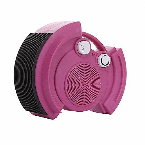JRM Calentador Eléctrico Ahorro de Energía en el Hogar Calentador de Escritorio Miniatura de Dibujos Animados Mini Aire Acondicionado Mini Ventilador de Calefacción,Rosa roja