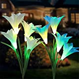 Tvird Outdoor Solar Stake Lights,Upgraded Waterproof Solar Garden Lily Lights,2 Sets Flower Lights with 8 Flowers,Multi-Colors Changing LED Decorative Lights for Garden,Patio, Backyard(White&Blue)