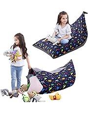 iFCOW Puf con diseño de animales de peluche para niños, organizador de almacenamiento de juguetes, asiento plegable para el suelo extra grande