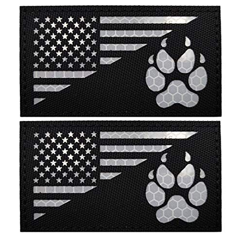 IR K9 Dog Handler Paw K-9 USA Flag Infrared Tactical Morale Embroidered Patch Applique with Hook and Loop Fastener Backing for Medium and Large Animal Vests Harnesses (Black)