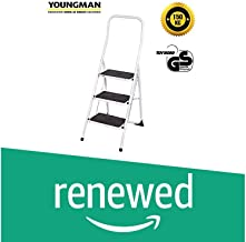 (Renewed) YOUNGMAN 3 Step Stool Steel Ladder with Big handrail (150 kg Load Capacity; Silver and Black)