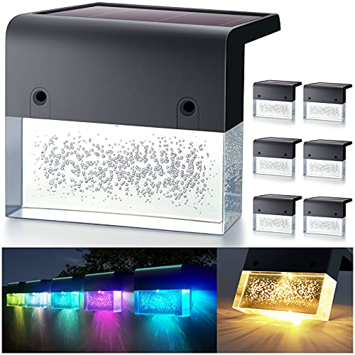 DenicMic Solar Deck Lights, Led Solar Step Lights Outdoor Fence Solar Lights for Stair, Patio, Railing, Pool, Waterproof Super Bright 10 Lumens, Acrylic Bubbles Warm White/Color Changing 6 Pack